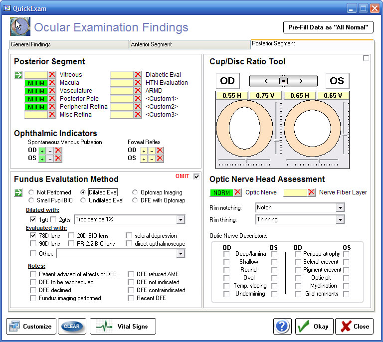 Ophthalmic EMR - ezChartWriter Screen shot